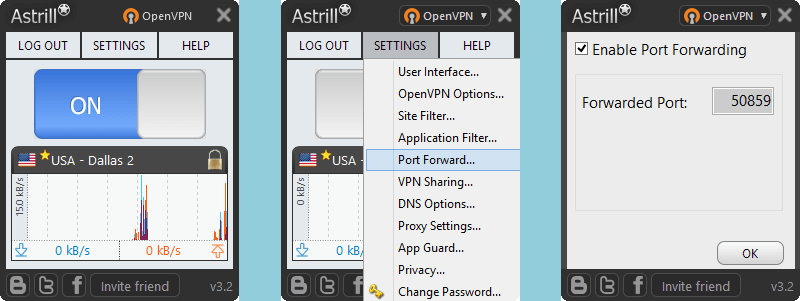 Astrill VPN: OpenVPN - Port Forward