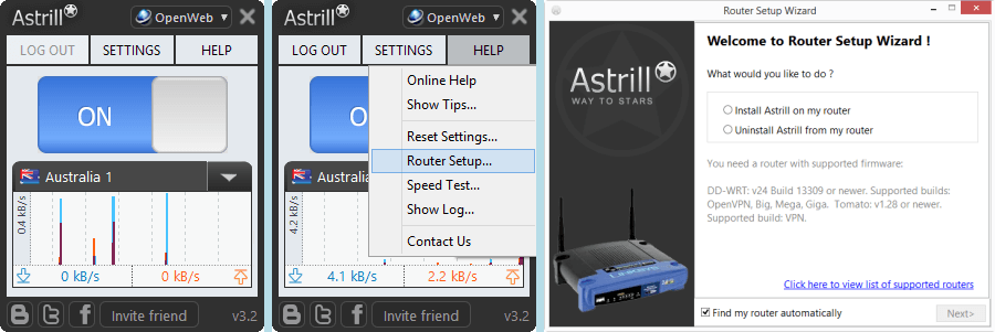 Astrill VPN Client Router Setup Wizard
