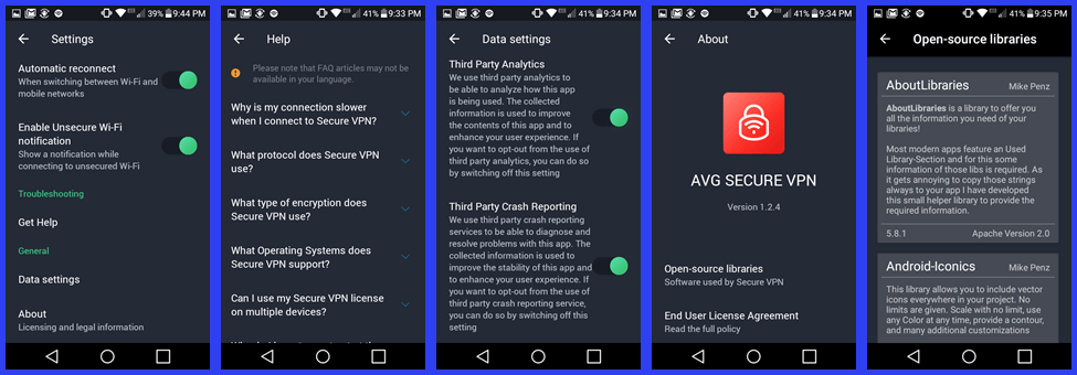 تنظیمات Android AVG VPN