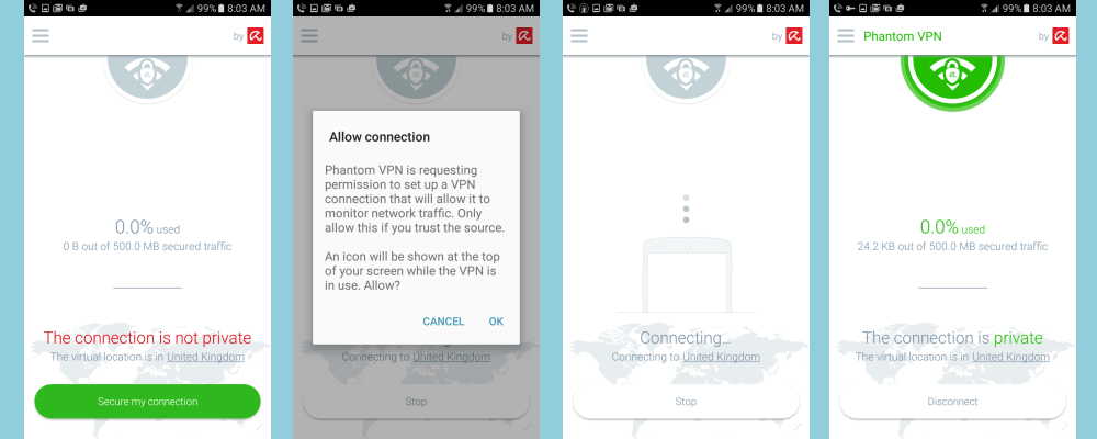اتصال Phantom VPN Android