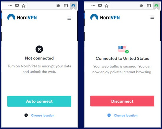 NordVPN Connect Firefox拡張機能