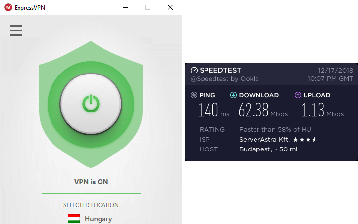ExpressVPN Hungary ātruma tests
