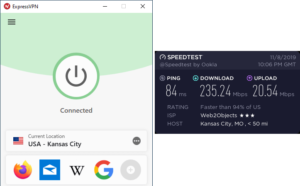 Test brzine ExpressVPN Kansas City