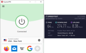 ExpressVPN New York City snelheidstest