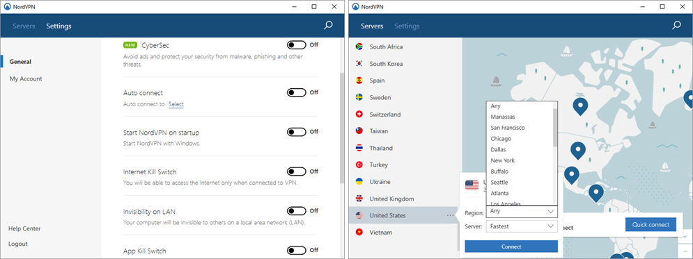 NordVPN Windows 클라이언트
