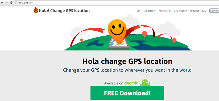 Hola GPS Relocator voor Android