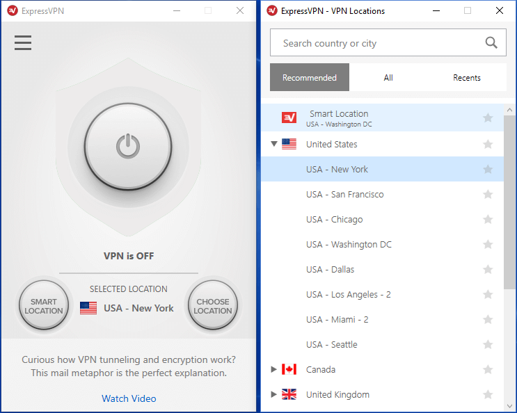 ExpressVPN-serverlocaties