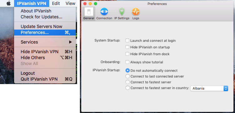 IPVanish Mac preferences