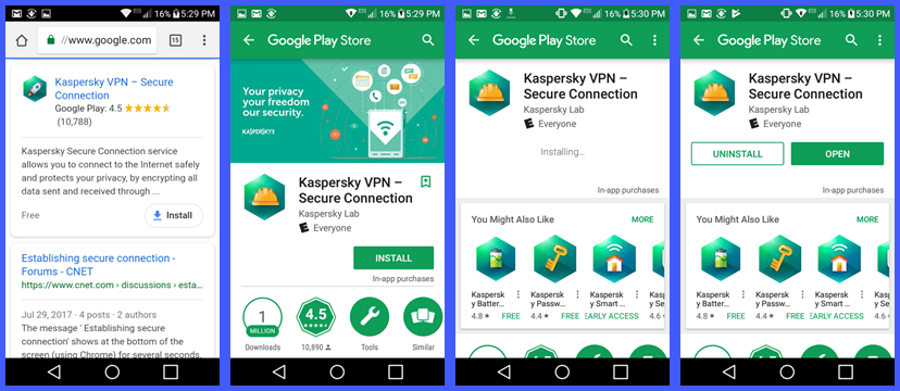 Android 용 Kaspersky Secure Connection VPN 설치