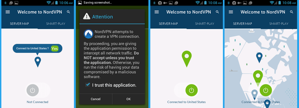 NordVPN Android Client Map Connection naar Verenigde Staten