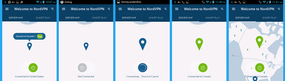 NordVPN Android App Map Server Verander de VS naar Canada