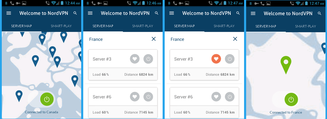 NordVPN Android App Map Connection France#3