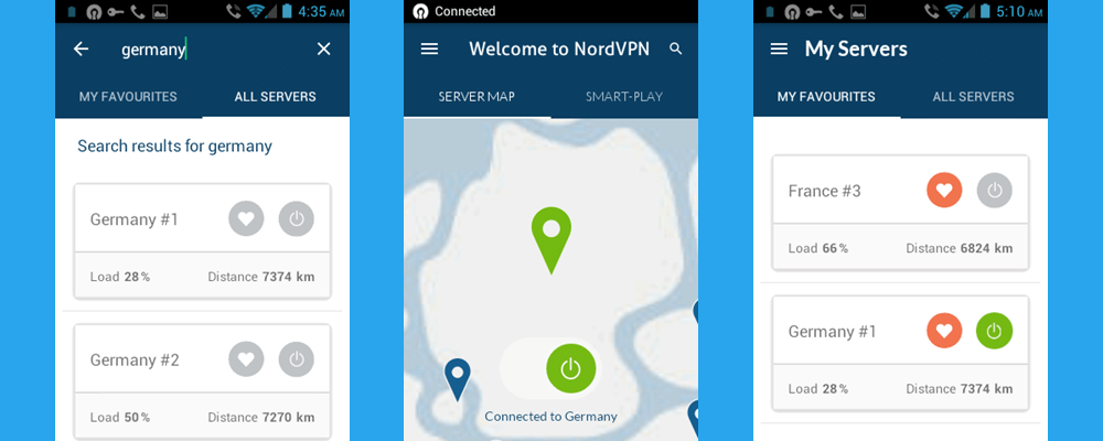 NordVPN App Android Cerca tutti i server in Germania