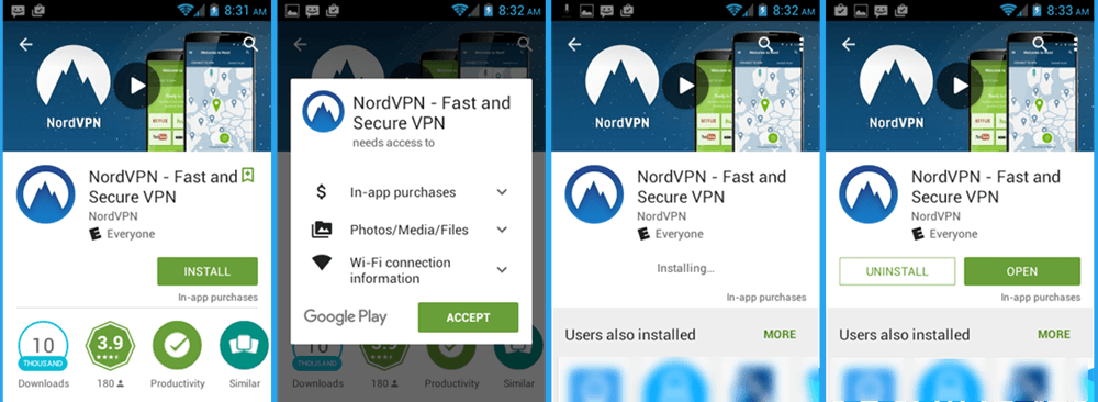 NordVPN Androidのインストール