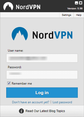 NordVPN Windows-aanmelding