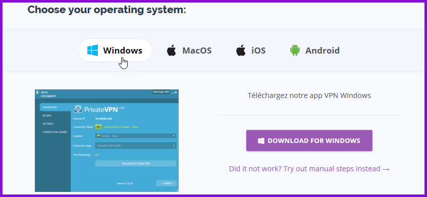 De PrivateVPN Custom Software downloaden