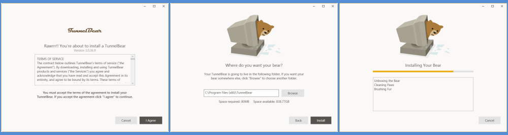 TunnelBear VPN Menginstal Klien Windows